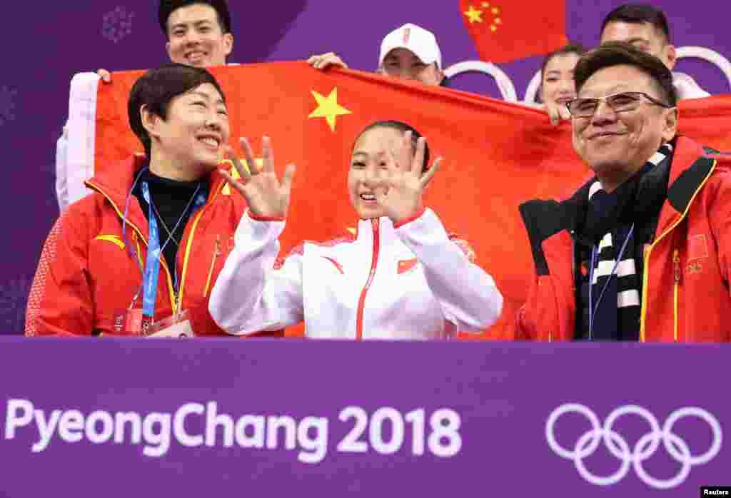 2018年2月11日,平昌冬奥会,中国的李香凝在女子单人花样滑冰比赛之后。