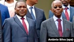Presidente Filipe Nyusi e ministro das Finanças e Economia Adriano Maleiane.