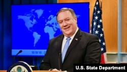 Ngoại trưởng Mike Pompeo trong cuộc họp báo tại Bộ Ngoại giao Mỹ ở Washington D.C., ngày 22/5/2018.