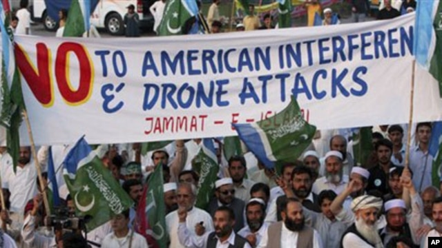 Rally against U.S. drone strikes in Pakistani tribal areas, Peshawar, Pakistan, April 2011 (file photo).