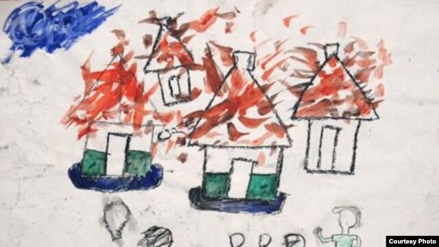 A drawing done in 2006 by a boy who had fled fighting between the Lord's Resistance Army and government forces in northern Uganda. (Courtesy of Nickson Okwir and A River Blue.)