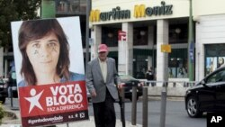 Left Bloc banner featuring candidate Catarina Martins in Lisbon, Portugal, Oct. 19, 2015.