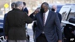 美國新任國防部長奧斯汀1月22日抵達五角大樓 (美聯社)