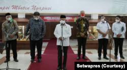 Koordinasi Wapres dengan Menko Perekonomian, Mendagri, Mendes PDTT, Menkop dan Pemda Jawa Tengah di Semarang, Kamis (7/10). (Foto: Courtesy/Setwapres)