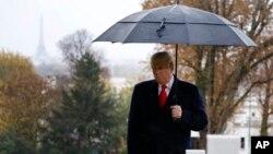 El presidente Donald Trump durante la conmemoración por el fin de la I Guerra Mundial en París el 11 de noviembre de 2018.