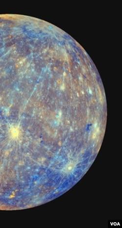 Gambar yang diambil dari pesawat Messenger, menunjukkan sebagian permukaan planet Merkurius.