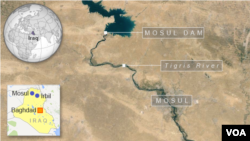 Ảnh chụp từ vệ tinh địa điểm Đập Mosul ở Iraq