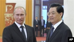 Chinese President Hu Jintao (r) and Russian Prime Minister Vladimir Putin pose prior to the talks at the Great Hall of the People in Beijing, China, Oct. 12, 2011