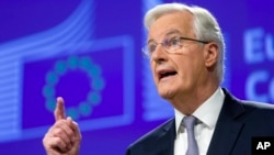 Michel Barnier, Chief Negotiator for the Preparation and Conduct of the Negotiations with the United Kingdom under Article 50 of the Treaty of the European Union, speaks during a media conference at EU headquarters in Brussels, Dec. 6, 2016.