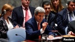 美国国务卿克里在纽约联合国总部召开的有关伊拉克问题的安理会会议上发言。(2014年9月19日)