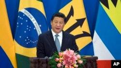 중국의 시진핑 국가주석이 8일 베이징에서 중남미 카리브해 국가들과의 협력 회의 개막 연설을 하고 있다.