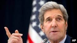Ngoại trưởng Hoa Kỳ John Kerry phát biểu trong cuộc họp báo tại Riyadh, Ả Rập Xê Út, ngày 23/1/2016.