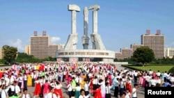 평양 대동강구역 문수거리의 노동당 창건 기념탑. (자료사진)