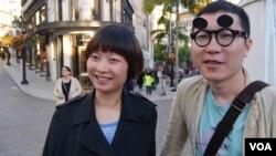 中国游客瑞松和梅夫妇(美国之音国符拍摄)