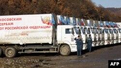 Konvoj sa ruskom pomoći Srbima na Kosovu parkiran u blizini sela Doljane