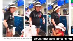"""Nữ đại úy công an Lê Thị Hiền """"đại náo"""" sân bay Tân Sơn Nhất."""