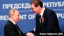 Predsednik Rusije Vladimir Putin i predsednik Srbije Aleksandar Vučić u zgradi Predsedništva Srbije