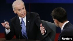 Vice-presidente americano, Joe Biden, durante o debate com o seu adversário republicano, Paul Ryan.