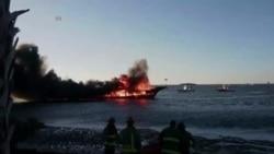 Se incendia barco frente a costas del golfo en Florida