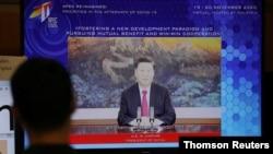 Chủ tịch Trung Quốc Tập Cận Bình phát biểu trực tuyến trên diễn đàn APEC, 20/11/2020.