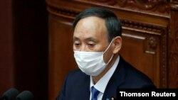 스가 요시히데 일본 총리가 18일 개원한 의회에서 시정연설을 했다.