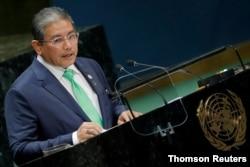 Menteri Luar Negeri Kedua Brunei Erywan Pehin Yusof berpidato pada sesi ke-74 Majelis Umum PBB di markas besar PBB di New York City, New York. (Foto: Reuters)