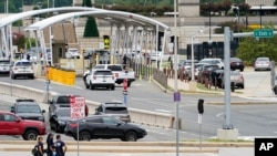 Emergency vehicles are seen outside the Pentagon Metro area Aug. 3, 2021, at the Pentagon in Washington.