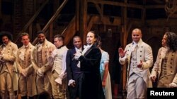 "FILE - Lin-Manuel Miranda, actor and creator of the play ""Hamilton,"" addresses the audience after the play's opening night on Broadway in New York, Aug. 6, 2015."