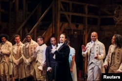 "FILE - Lin-Manuel Miranda, actor and creator of the of the play ""Hamilton,"" addresses the audience after the play's opening night on Broadway in New York, Aug. 6, 2015."