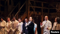 """FILE - Lin-Manuel Miranda, actor and creator of the of the play """"Hamilton,"""" addresses the audience after the play's opening night on Broadway in New York, Aug. 6, 2015."""