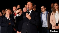 Italy's former Prime Minister Matteo Renzi speaks at the Democratic Party (PD) headquarters in Rome, April 30, 2017.