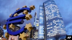 FILE - European Central Bank in Frankfurt, Germany.