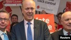 Le ministre des Transport Chris Grayling lors d'une campagne politique, à Londres, le 20 février 2016.
