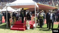 President Mugabe seen at the National Sports Stadium in Harare on Monday.