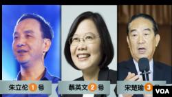 国民党的朱立伦、王如玄抽中1号,民进党的蔡英文、陈建仁抽中2号、亲民党的宋楚瑜、徐欣莹抽中3号,中选会将在12月18日公告候选人名单(2015年12月14日)。