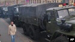 莫斯科市中心布满警察应对反对派示威