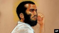 En esta imagen se ve un dibujo del canadiense Omar Khadr asistiendo a una audiencia en la prisión militar estadounidense de Guantánamo, Cuba, en 2010.