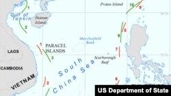 Phúc trình của Mỹ về cơ sở pháp lý, địa lý, và lịch sử của Trung Quốc để đòi chủ quyền khu vực này kết luận rằng các yêu sách của Trung Quốc không phù hợp với luật pháp hải dương quốc tế, nhất là Công ước Liên hiệp quốc về luật biển năm 1982 mà Trung Quốc đã ký kết
