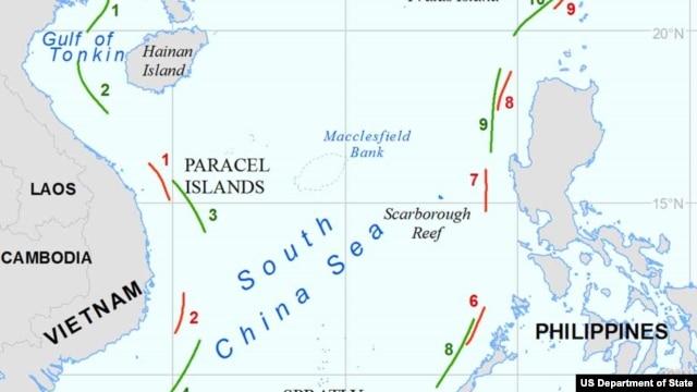 Bản đồ 'đường lưỡi bò' của Trung Quốc mà theo văn kiện của Mỹ kết luận là không có cơ sở trong luật quốc tế.