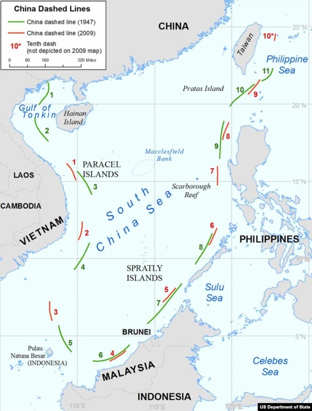 A map showing differences in China's maritime claims in the South China Sea, based on maps created by China in 1947 and 2009.