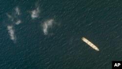 Cпутниковая фотография компании Planet Labs Inc. показывает иранское грузовое судно MV Saviz в Красном море у берегов Йемена.