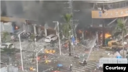 中国广东省珠海市一间旅馆2020年9月11日发生大爆炸(网上视频截图)