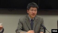 東京大學法學教授高原明生(美國之音 鍾辰芳拍攝)