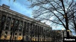 美国华盛顿,美国司法部大楼沐浴在晨光中(2020年2月14日)。