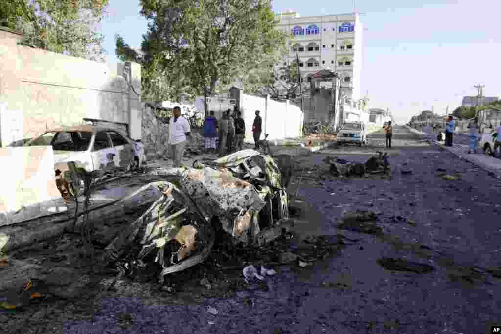 Wreckage is seen after an attack outside the Jazeera Hotel in Mogadishu, Jan. 2, 2014.