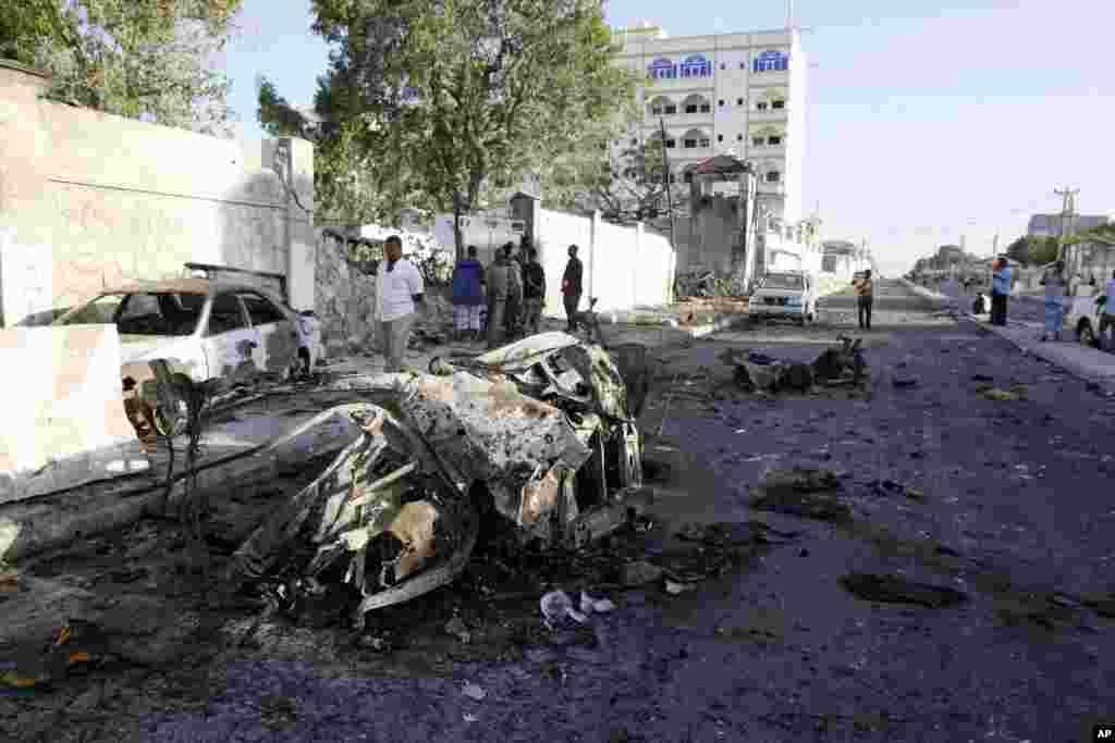 Wreckage is seen after an attack outside the Jazeera Hotel in Mogadishu, Jan. 2, 2014.
