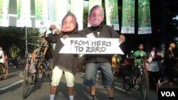Một cuộc phản đối ma túy và tham nhũng ở Solo, Indonesia (VOA/Yudha Satriawan)