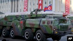 FILE - A missile is paraded in Pyongyang, North Korea, during the 70th anniversary celebrations of its ruling party's creation, Oct. 10, 2015.