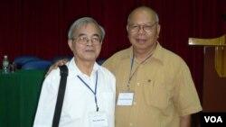 GS Phan Đình Diệu và GS Nguyễn Đăng Hưng, tại Hội Thảo Hè 2008, Nha Trang. (Hình: FB Nguyễn Đăng Hưng)