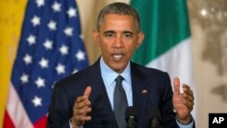 Presiden Barack Obama membela rencana perluasan perdagangan AS di seluruh dunia, Jumat (17/4).